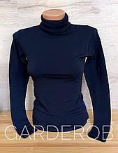 Тёплый женский гольф / водолазка на флисе, XS-S (40-42-44) Тёмно-синий