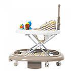 Дитячі ходунки 3 в 1 з трансформацією в гойдалку і ігровою панеллю, Carrello Eterno CRL-9607 Coffee, фото 2