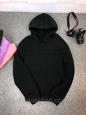 Мужское худи толстовка утепленное на флисе с капюшоном черного цвета