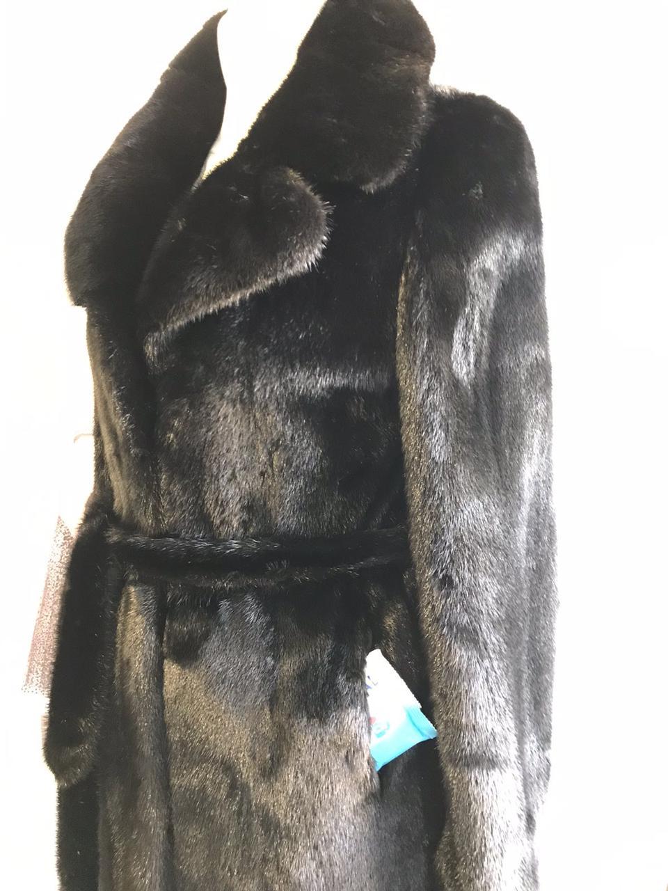 Норкове пальто чорний діамант шуба з розрізами з боків Греція