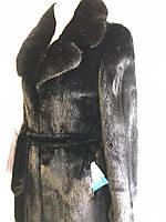 Норкове пальто чорний діамант шуба з розрізами з боків Греція, фото 1
