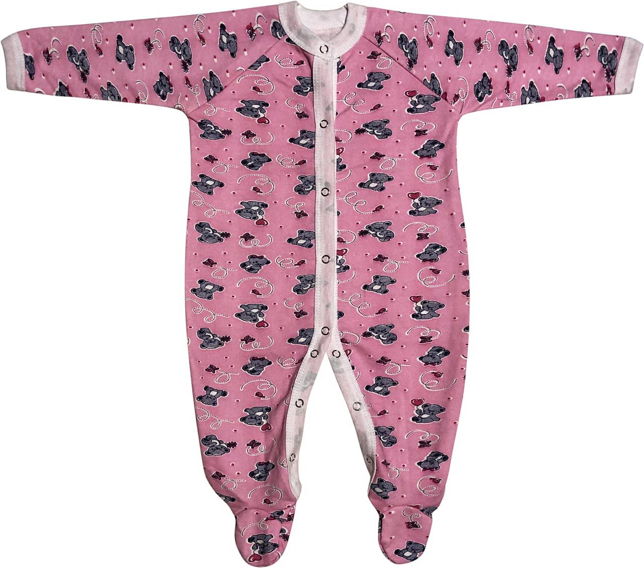 Тёплый человечек с начёсом на девочку рост 62 2-3 мес для новорожденных слип детский хлопковый футер розовый