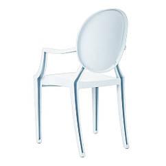 Стілець Доріс, пластиковий, з підлокітниками, колір білий, штабельований. Стільці крісла для кафе, барів