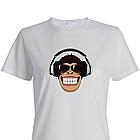 Футболка Мавпа в навушниках. Люблю музику! Бавовна. Чорна, біла. Друк будь-якого зображення, фото 2