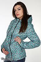 """Демисезонная двухсторонняя куртка для беременных """"Floyd"""", черный+мелкий цветочек на аквамарине"""