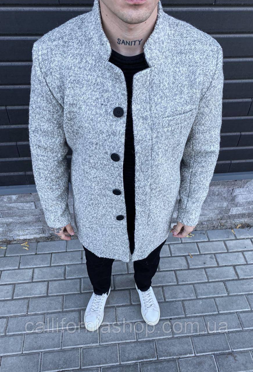 Мужское пальто серое двубортное длинное демисезонное