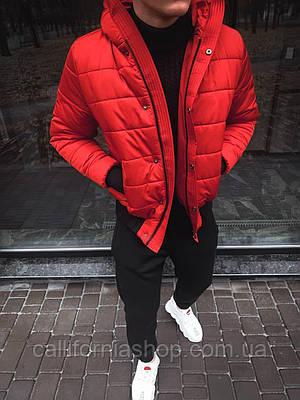 Куртка мужская красная короткая с капюшоном теплая зимняя M