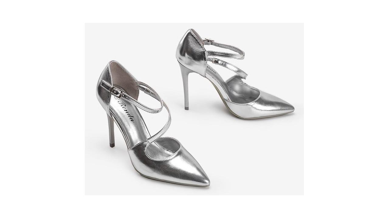 Женские туфли классические выходные серебристые на шпильке 9см 36-41 размер