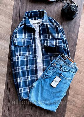 Рубашка мужская байковая в клетку синего цвета