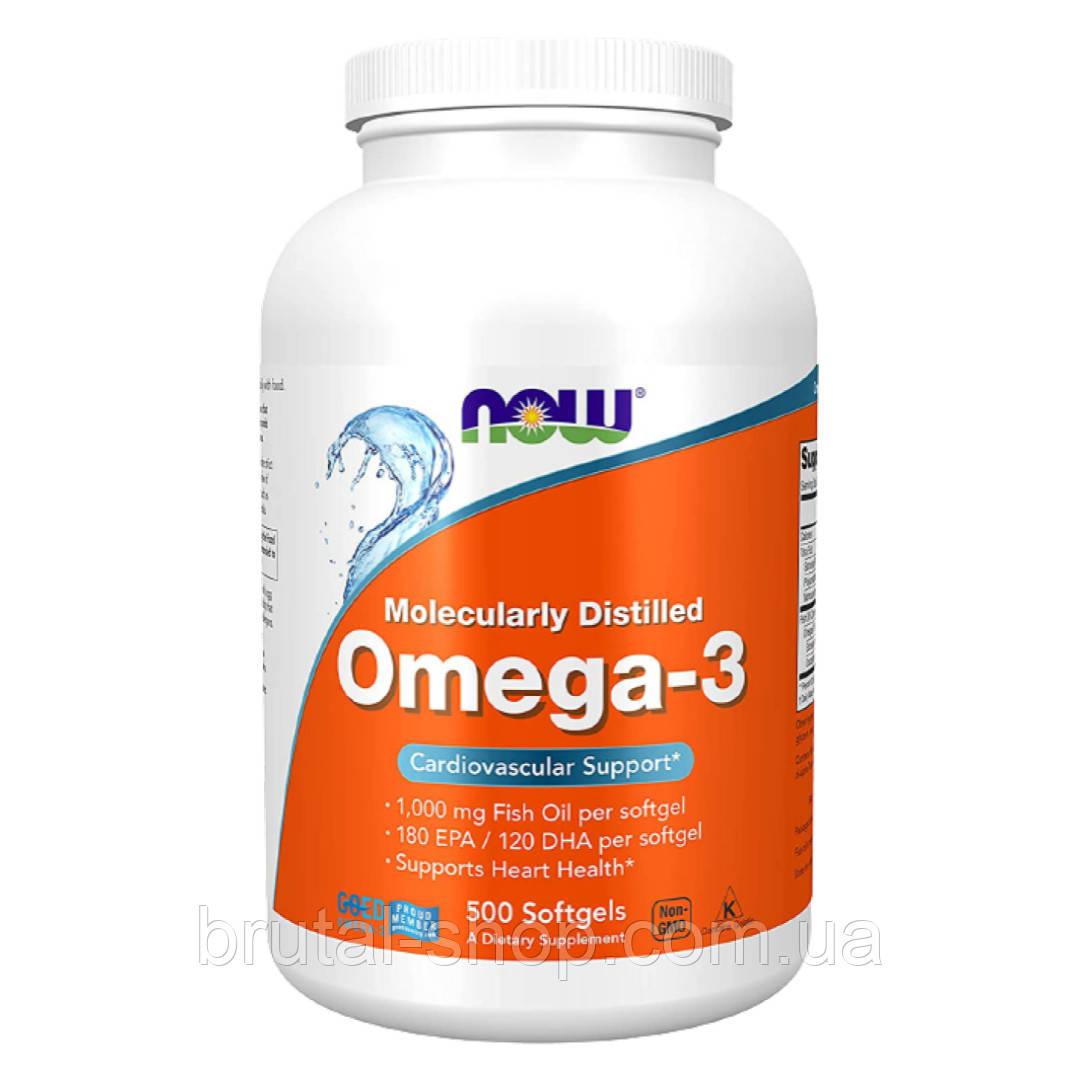 Омега-3 риб'ячий жир, Now Foods Omega 3 (500softgels )