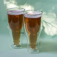 Бокал для пива с двойными стенками в виде перевернутой бутылки