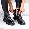 Люксовые черные лаковые глянцевые женские ботинки на низком каблуке, фото 2
