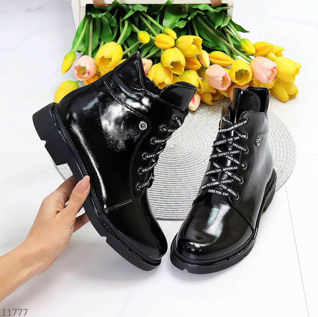 Люксовые черные лаковые глянцевые женские ботинки на низком каблуке