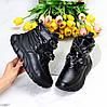 Крутые черные спортивные зимние женские ботинки дутики на липучках декор цепь, фото 10