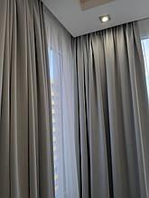 Комплект готовых  штор блэкаут серого цвета на тесьме  150см на 270 см  (2шт)
