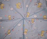 Ткань бязь Gold для детского постельного мишки на голубом