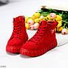 Модні червоні жіночі зимові спортивні черевики блискавка + шнурівка, фото 7