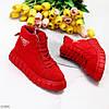 Модні червоні жіночі зимові спортивні черевики блискавка + шнурівка, фото 9