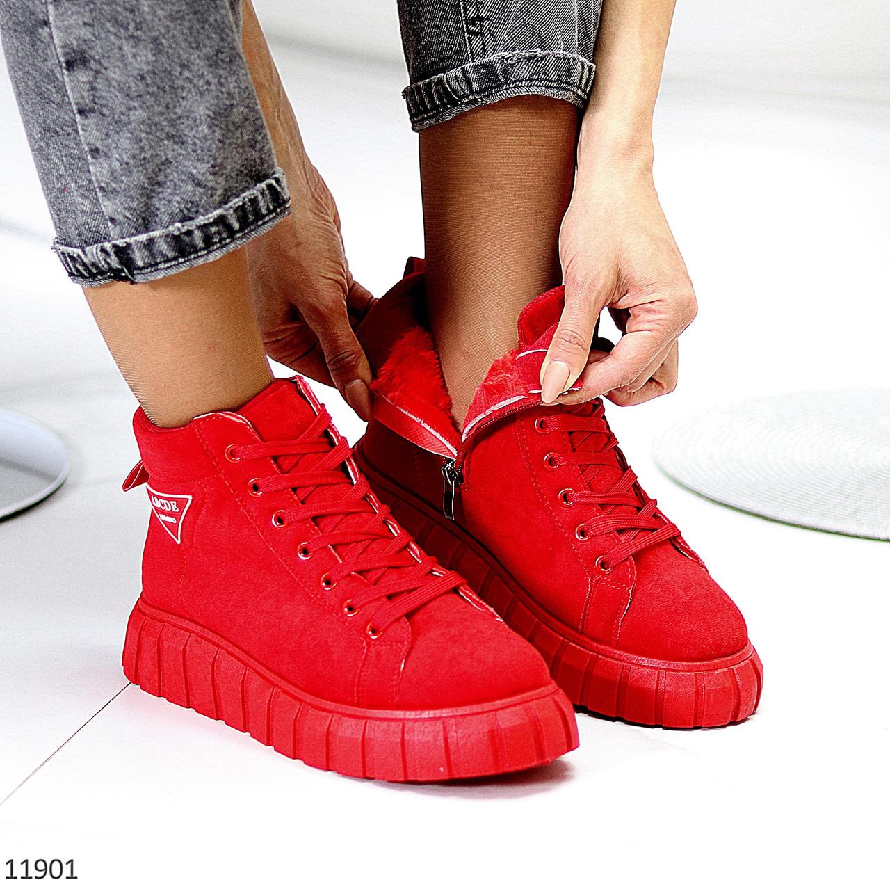 Модні червоні жіночі зимові спортивні черевики блискавка + шнурівка