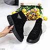 Модні чорні жіночі зимові спортивні черевики блискавка + шнурівка, фото 10