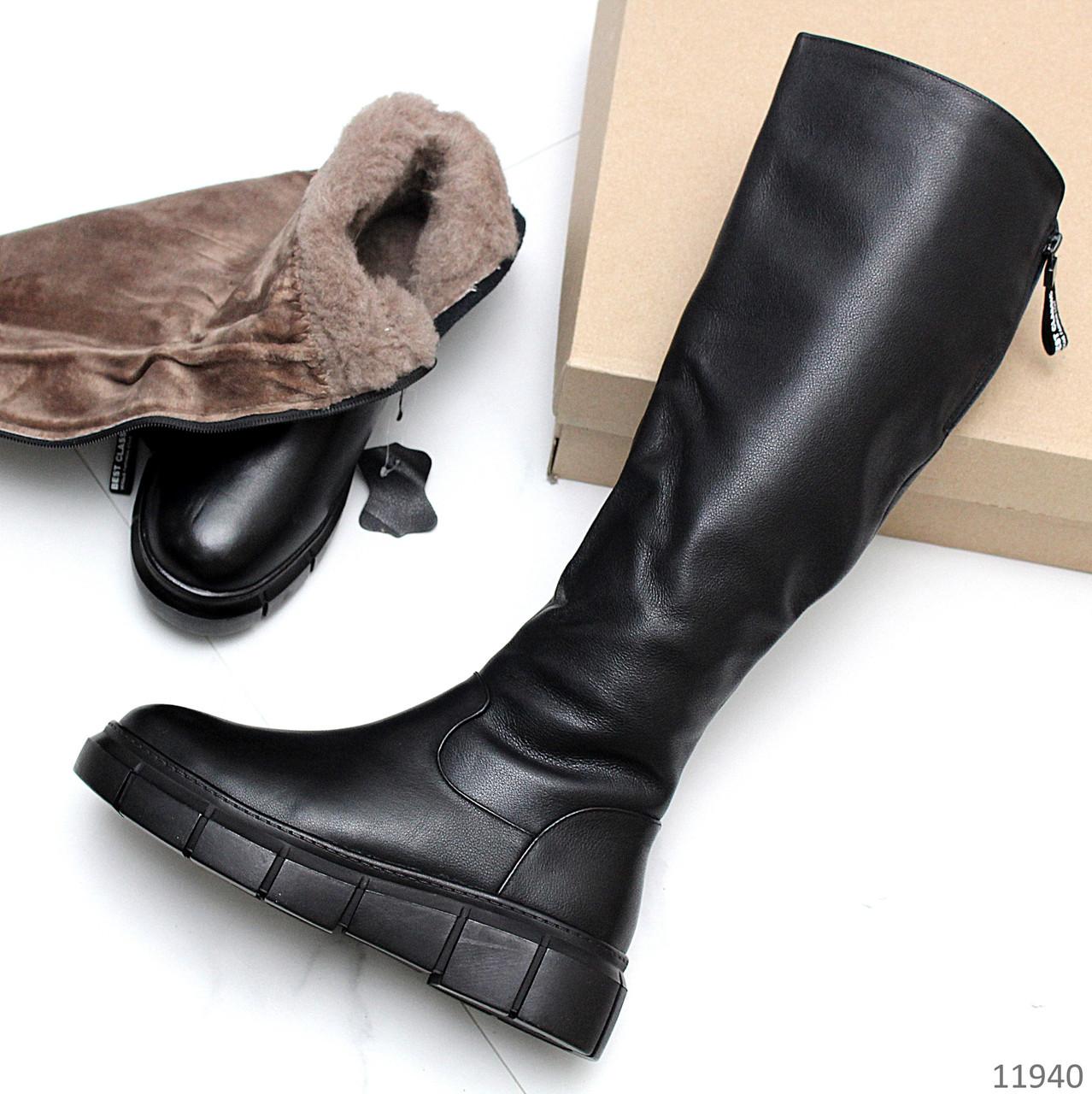 Натуральна шкіра теплі зимові чорні жіночі чоботи натуральна цигейка низький хід