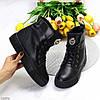 Модельные теплые черные кожаные женские ботинки натуральная кожа низкий ход, фото 2