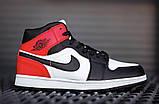 Кроссовки зимние Nike Air Jordan 1 Retro black/red, зимние кроссовки Найк Аир Джордан, фото 2