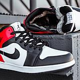Кроссовки зимние Nike Air Jordan 1 Retro black/red, зимние кроссовки Найк Аир Джордан, фото 4