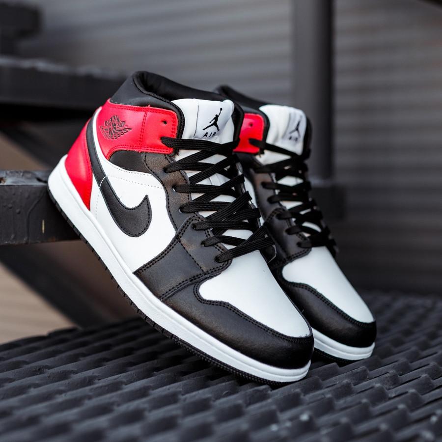 Кроссовки зимние Nike Air Jordan 1 Retro black/red, зимние кроссовки Найк Аир Джордан