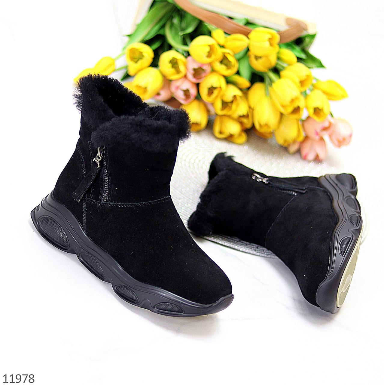Модные черные полу спортивные замшевые женские ботинки натуральная замша