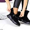 Модные черные полу спортивные замшевые женские ботинки натуральная замша, фото 2