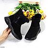 Модные черные полу спортивные замшевые женские ботинки натуральная замша, фото 9