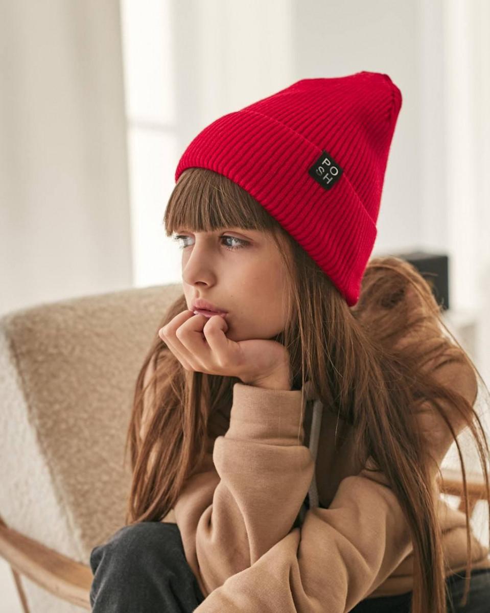 Стильна зимова шапка з відворотом для дівчинки оптом - Артикул 2959