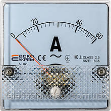 АС Амперметр прям. вкл. 60А 80х80 (А-80)