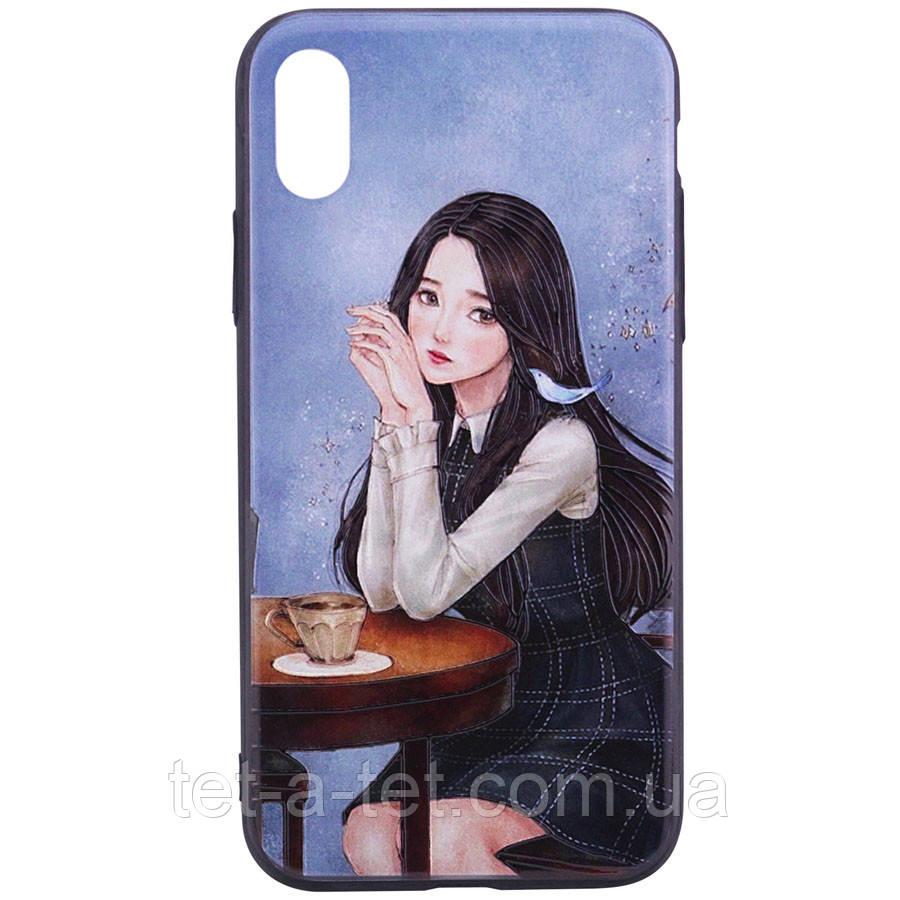 """Cиликоновый чехол с YCT картина для Apple iPhone X / XS (5.8"""") - Девочка в кафе (Black)"""