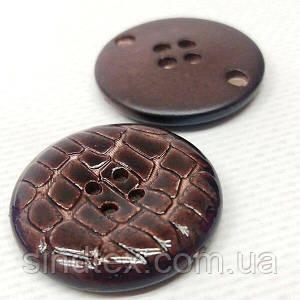 Бордовая пуговица Ø-30мм пластик имитация кожи крокодила (СИНДТЕКС-1529)