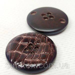 Бордовая пуговица Ø-28мм пластик имитация кожи крокодила (СИНДТЕКС-1530)