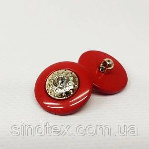 Ґудзик на ніжці Ø-21мм пластик з каменем червона (СИНДТЕКС-1534)