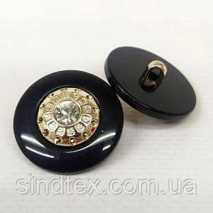 Пуговица на ножке Ø-25мм пластик с камнем черная (СИНДТЕКС-1536)