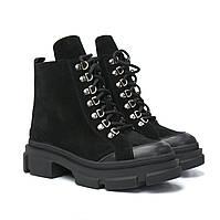 Замшевые черные ботинки женские зимняя демисезонная обувь осень зима COSMO Shoes Black Vel