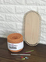 Набор для вязания: фанерное дно, маркеры, иглы, трикотажная пряжа BARWA на выбор, комплект для вязания крючком