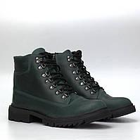 Женская обувь больших размеров зеленые зимние ботинки кожаные с мехом COSMO Shoes TimeToShow Green Crazy