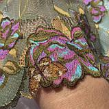 Стрейчевое (еластичне) мереживо у зелених і рожевих тонах шириною 22 див., фото 4