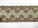 Стрейчевое (еластичне) мереживо у зелених і рожевих тонах шириною 22 див., фото 5