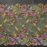Стрейчевое (еластичне) мереживо у зелених і рожевих тонах шириною 22 див., фото 6