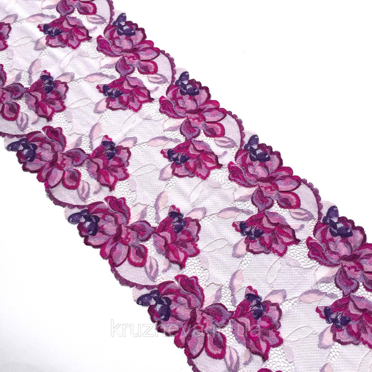 Еластичне (стрейчевое) мереживо в рожевих відтінках. Ширина 22 див.