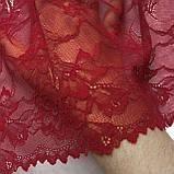Стрейчевое (еластичне) мереживо червоного кольору (відтінку бордо) шириною 21 див., фото 5