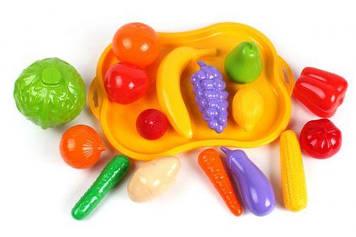 Набор фруктов и овощей, с подносом (16 эл)
