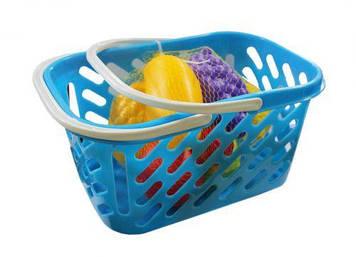 Корзинка голубая с фруктами, 8 предметов