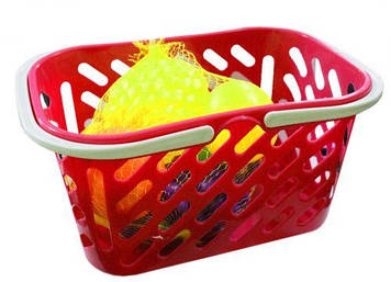 Корзинка красная с фруктами, 8 предметов
